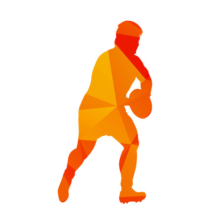 rugby player: Abstract orange polygonal rugby player, vector silhouete