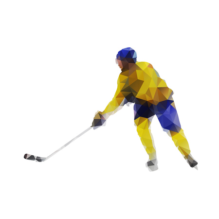 ice hockey player: Ice hockey player, active man in yellow jersey. Abstract polygonal vector silhouette