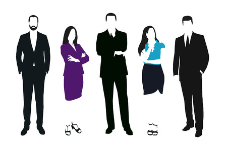 formal dress: Set of business people vector silhouettes. Men and women at work. Teacher, lawyer, manager, salesman, dealer, merchant, model, secretary, disciple, office workers. Formal dress
