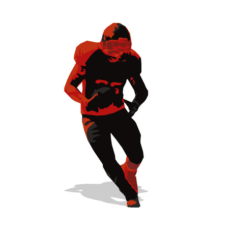 quarterback: American football player, abstract vector illustration of running quarterback