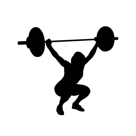 Woman practicing with barbell. Weight-lifting. Bodybuilding. Vector isolated silhouette Иллюстрация