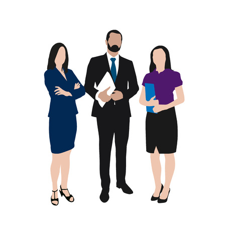 young black man: Business people vector illustration. Group of two women and one man at work. People at work