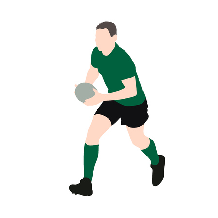 Rugby player vector illustration. Running man with ball in hands. Green jersey. Team sport