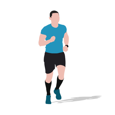 Running man, flat vector illustration Illustration