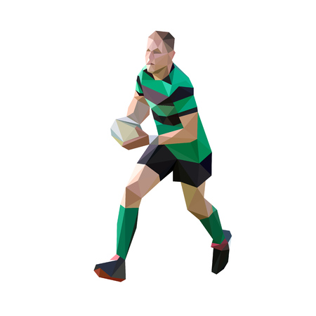 Running rugby player with ball, polygonal vector illustration