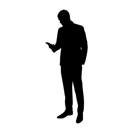 person silhouette: Business man with cell phone in his hand, vector silhouette. Standing man in suit. Illustration