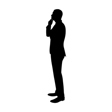 Business man thinking. Profile, side view vector silhouette. Standing man in suit Ilustração