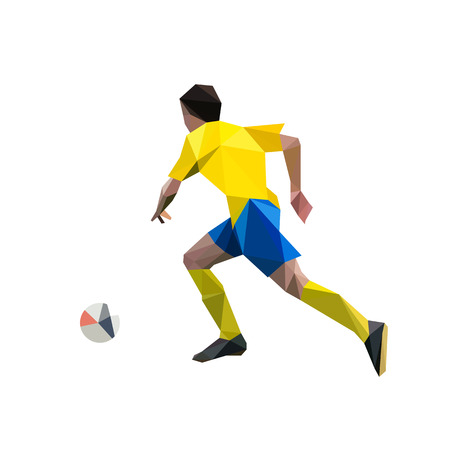 Running soccer player, abstract polygonal vector illustration. Football player in yellow jersey