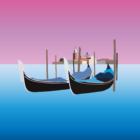 Gondole a Venezia Italia, illustrazione vettoriale Vettoriali
