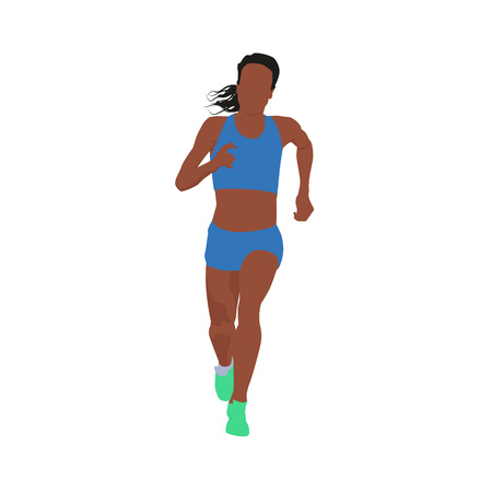 joggers: Running woman, vector illustration. Front view Illustration