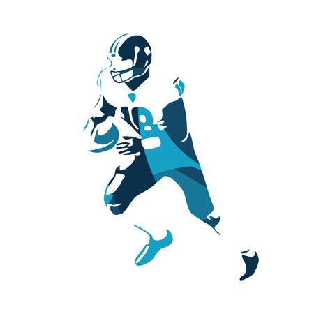 American football player, blue  illustration