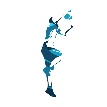 Basketball player, blue isolated  illustration Illustration