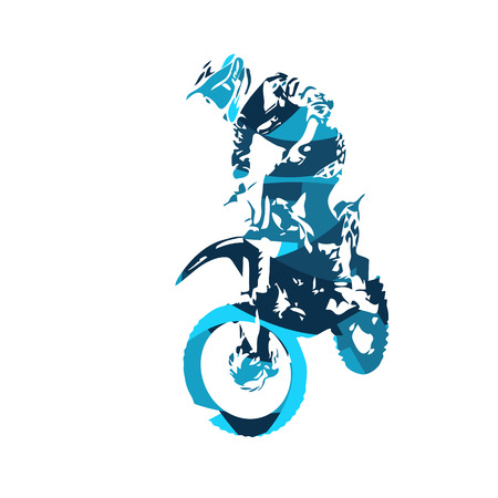 Motocross jumping freestyle rider,  illustration