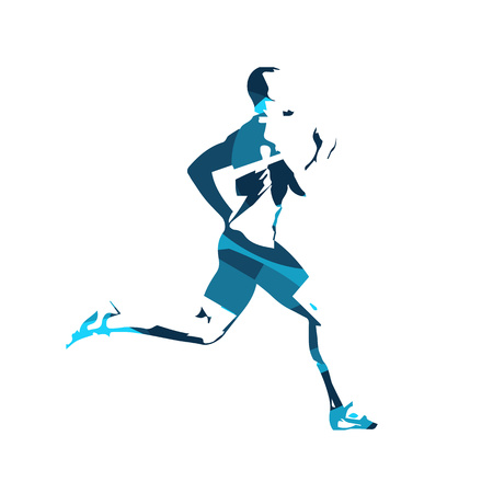 Abstract blue  runner. Running man,  isolated illustration. Sport, athlete, run, decathlon