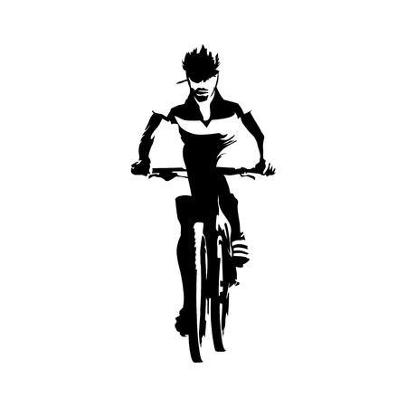 motorista de la montaña, ilustración vectorial abstracto. Cyclling