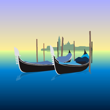Gondolas in Venice Italy, vector illustration