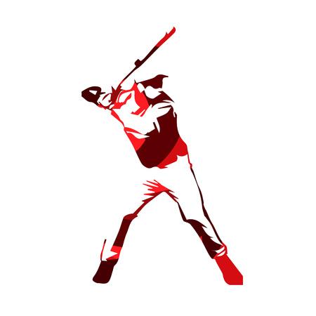 Abstract red baseball player, vector isolated illustration. Baseball batter