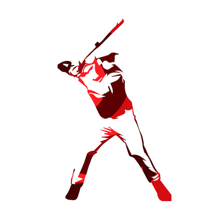 Abstract red baseball player, vector isolated illustration. Baseball batter