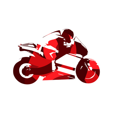 Motorcycle road racing, abstract red vector illustration. Motorbike Illustration