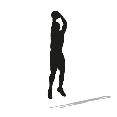 jump shot: Shooting basketball player vector silhouette. Front view