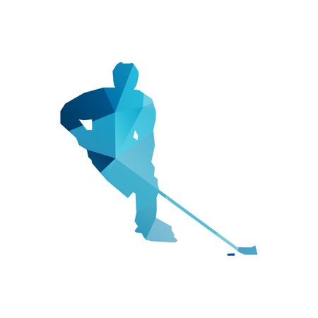 ice hockey player: Abstract ice hockey player, blue geometric vector silhouette