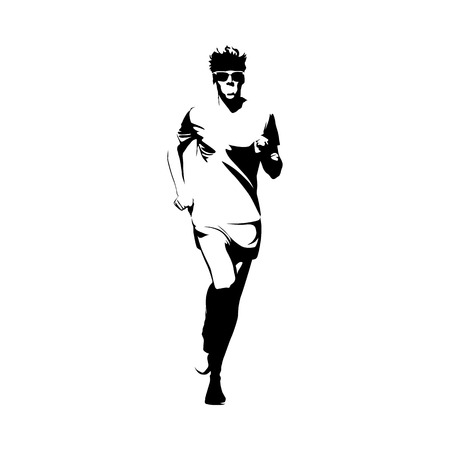 Running man, vector isolated illustration. Sport, athlete, run, decathlon