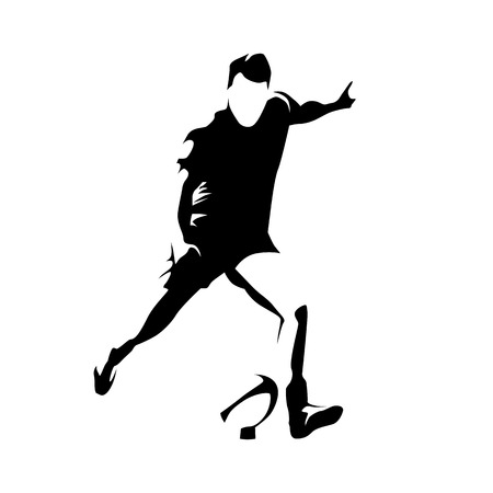 kick ball: Rugby player kick ball, abstract vector silhouette