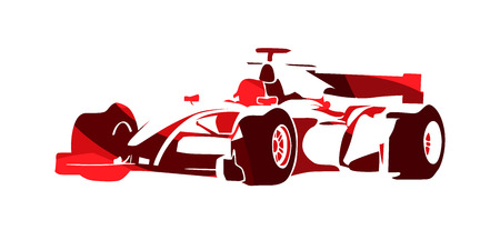 Formula racing car, red abstract vector silhouette Illustration