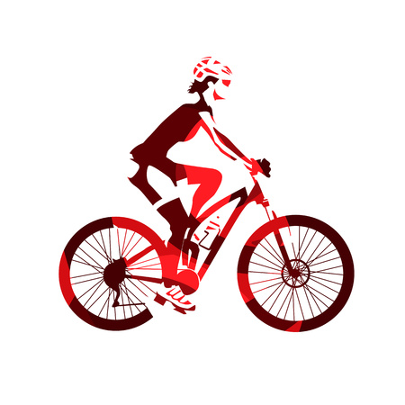Woman rides mountain bike, recreational cycling, abstract red vector silhouette