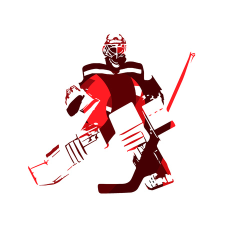 Ice hockey goalie, abstract vector silhouette