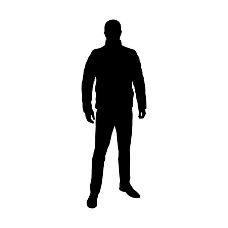 Man standing in feather jacket, vector silhouette