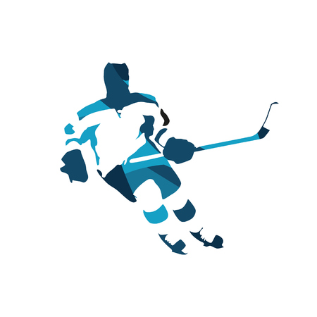 ice hockey player: Ice hockey player, abstract blue vector silhouette