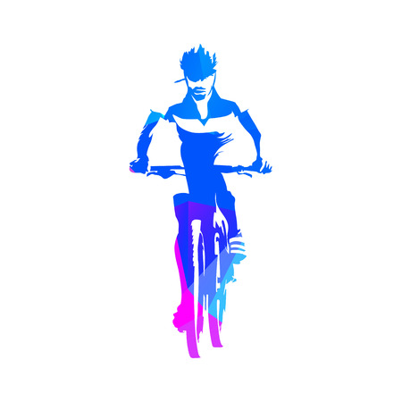 cycling helmet: Mountain cyclist, abstract geometric blue cycling vector silhouette Illustration