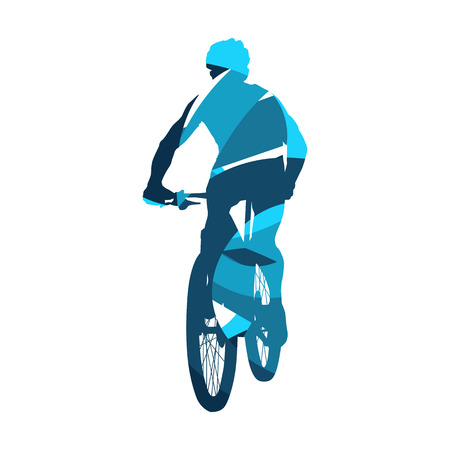 Mountain biker, abstract blue cycling vector silhouette Vektorové ilustrace