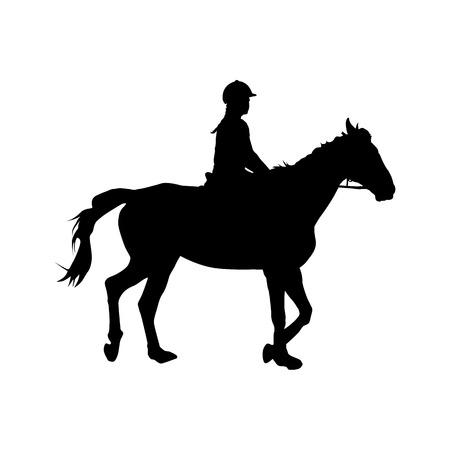Paardrijden, meisje zitten te paard, vector silhouet