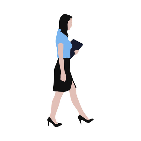 secretary office: Walking business woman with documents in her hand, vector illustration