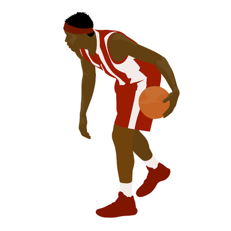 Basketball player standing and dribbling the ball, vector silhouette