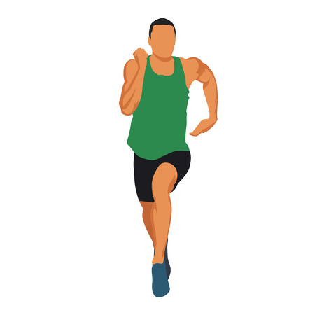 view abstract: Running man in green jersey, muscular athlete front view. Abstract vector illustration