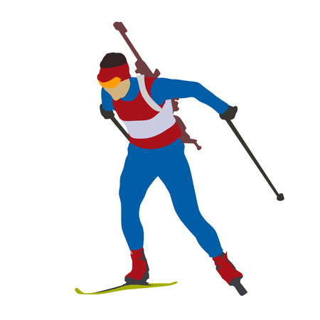 crosscountry: Biathlon man running vector isolated silhouette. Winter sports icon. Cross-country skiing