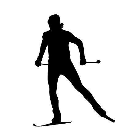 Cross country skiing vector silhouette Çizim