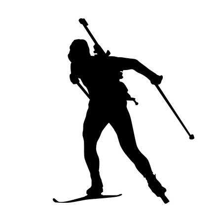 Biathlon man running vector isolated silhouette. Winter sports icon. Cross-country skiing