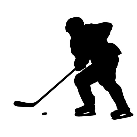 ice hockey player: Ice hockey player skating with puck, vector silhouette Illustration