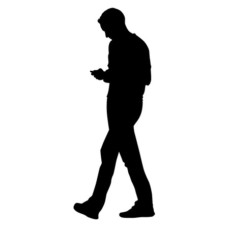 person silhouette: Young man going forward and holding a cell phone and writing sms, vector silhouette