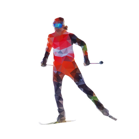 cross country: Cross country skiing, woman on skis, abtract polygonal vector silhouette