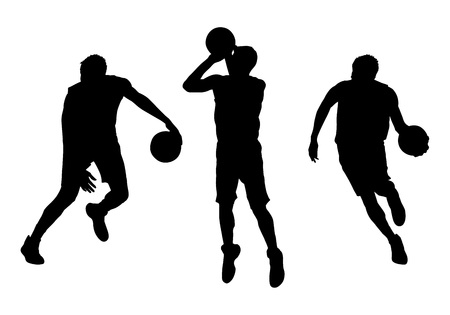 Set of basketball players vector silhouettes