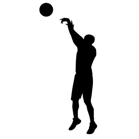 Tir joueur de basket-ball, silhouette vectorielle