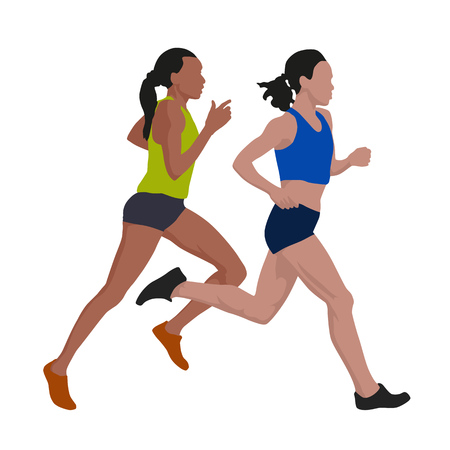 incorrect: Running women, vector illustration