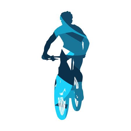 Mountain biking, abstract blue vector silhouette