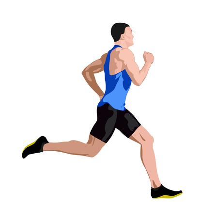 Running man in blue jersey profiel, zijaanzicht. Abstracte vector illustratie