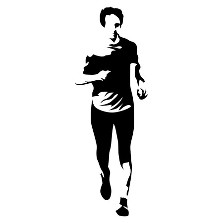Abstract vector runner, front view. Running athlete Illustration